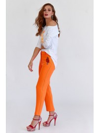 PANTALON PITILLO NARANJA BORDADO